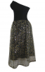 Herve Leger Bandage Dresses Strapless Sequined Lace Black