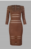 Herve Leger Metallic V Neck Crochet Stripe dressre