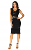 Herve Leger Bandage Dress V Neck Cut Out Fringe Black