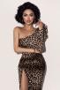 One-Shoulder Leopard-Print Celebrity Bandage Dress